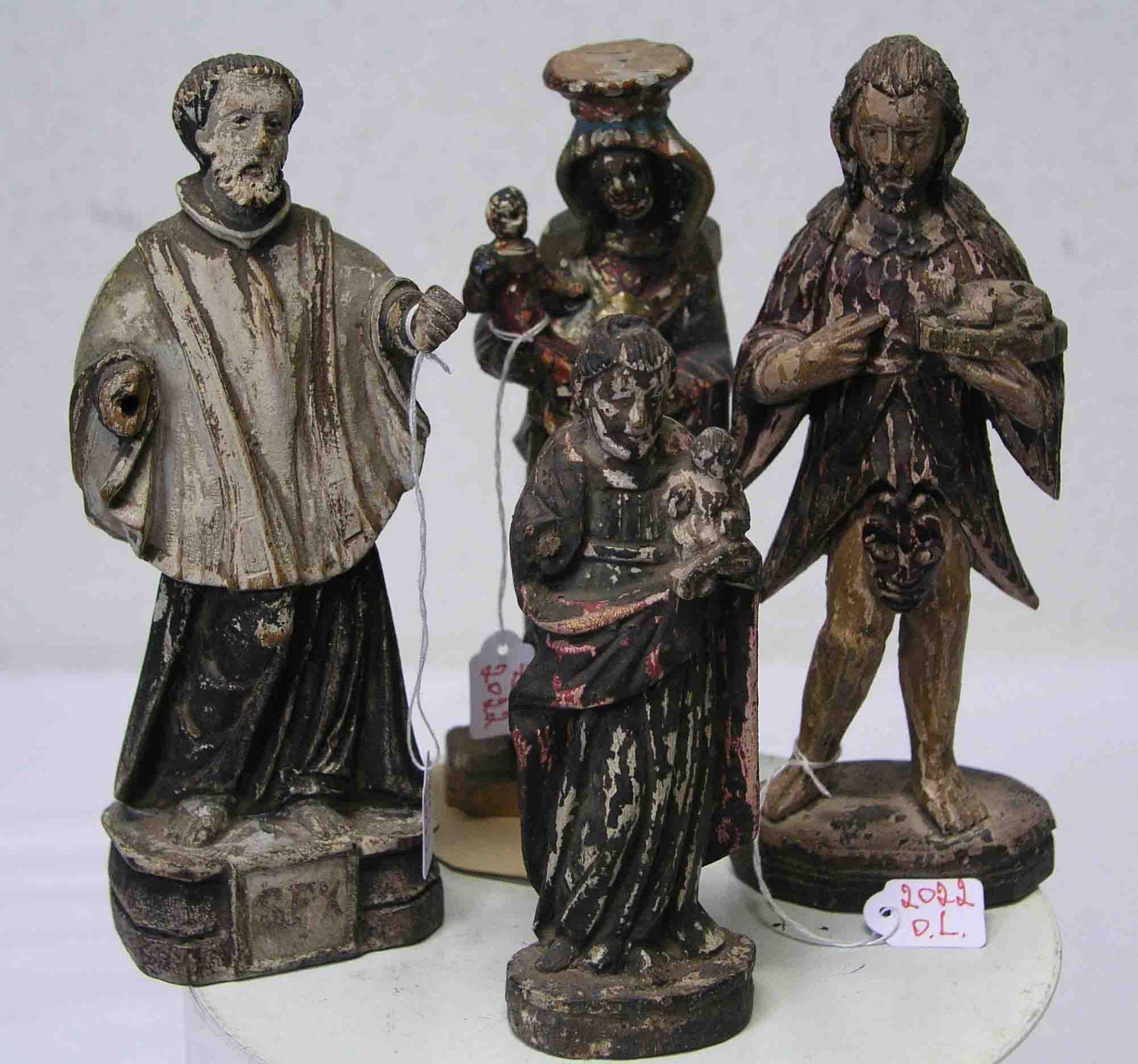 Vier Heiligenfiguren, 18./19. Jh. Holz