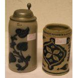 Zwei Bierkrüge, 19. Jh.,Steinzeug