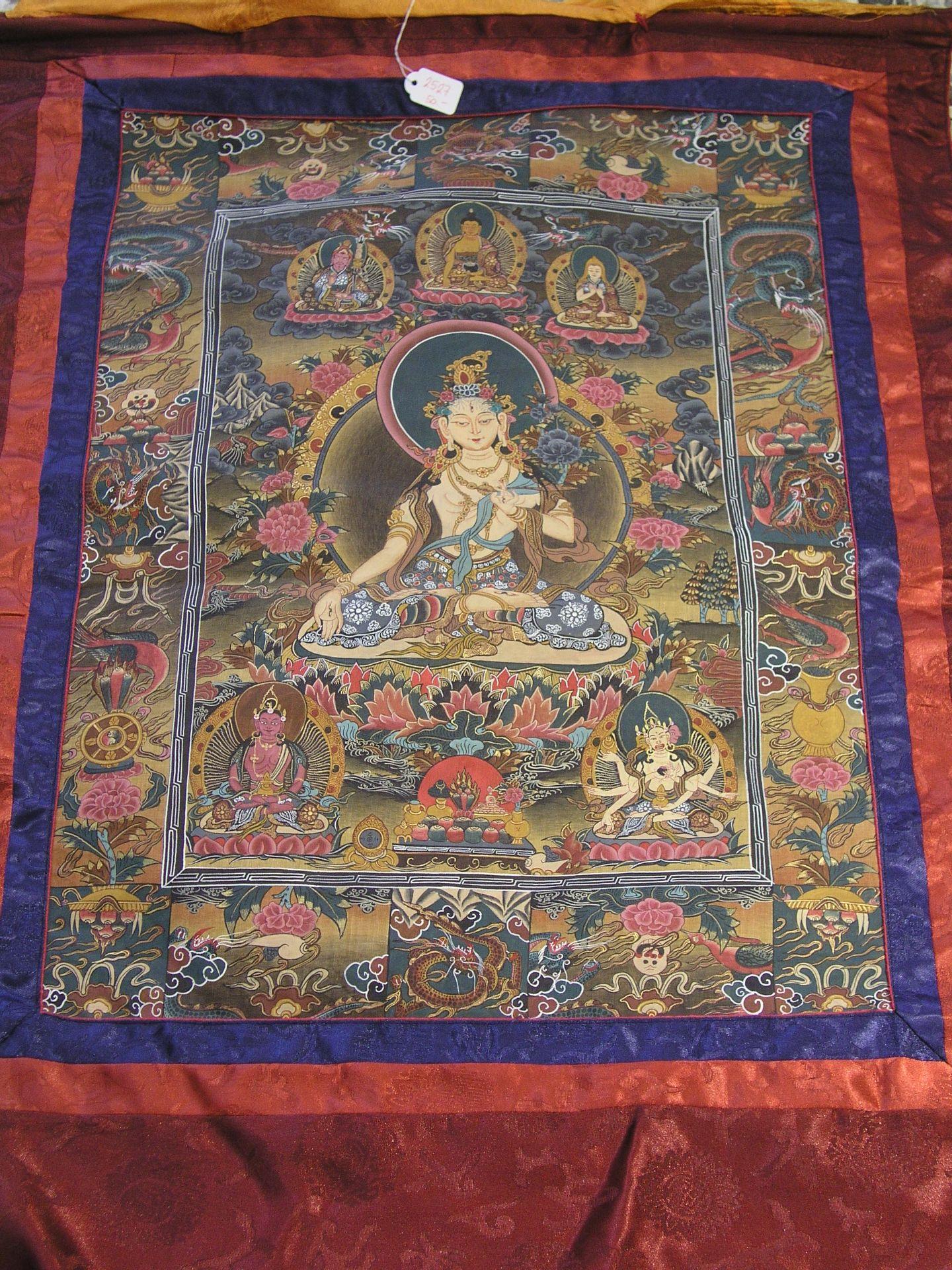 Thangka. Tibet. Im Zentrum Bodhisattva