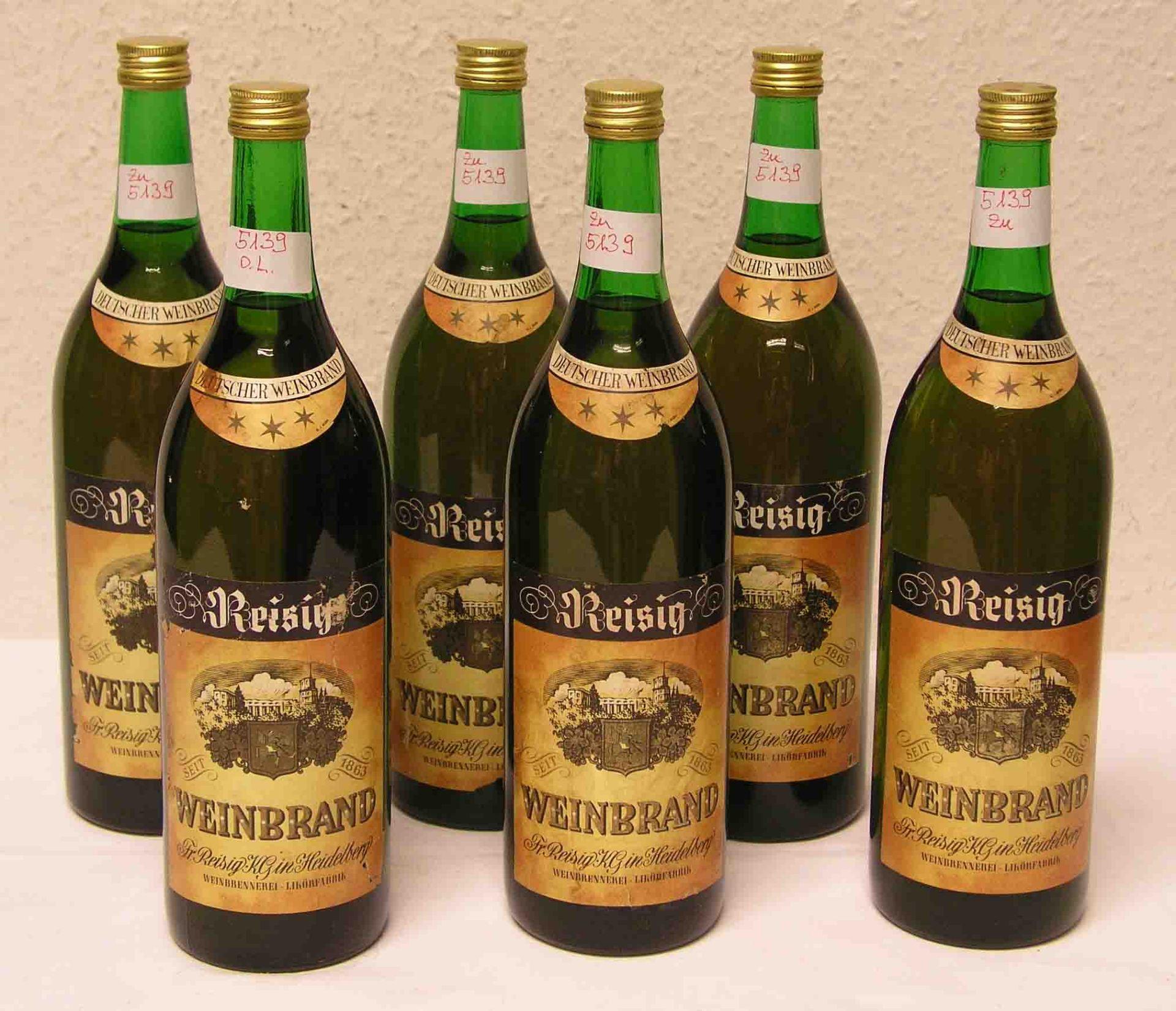 """Alkoholika: """"Weinbrand Reisig"""". Sechs"""