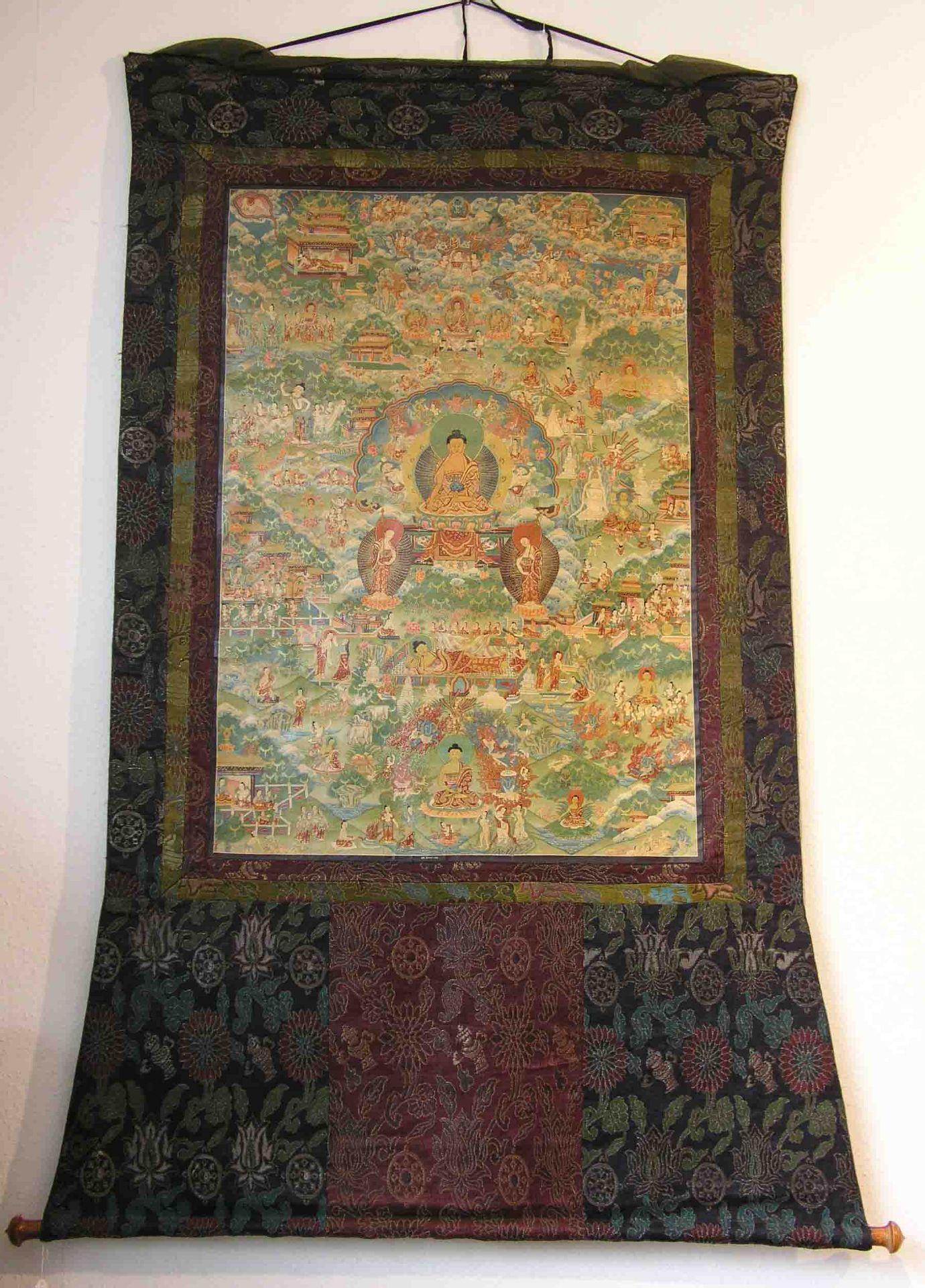 Thangka, Tibet. Prächtige Malerei mit