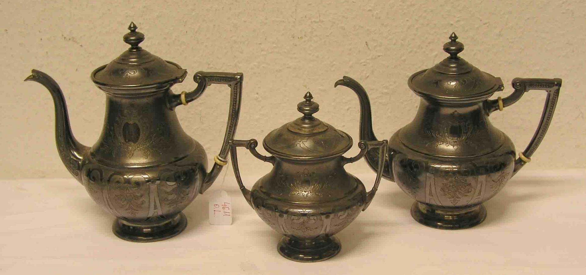 Kaffee-, Teekanne, Zuckerdose.
