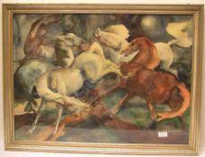 """Aufgeschreckte Pferde"". Aquarell,"