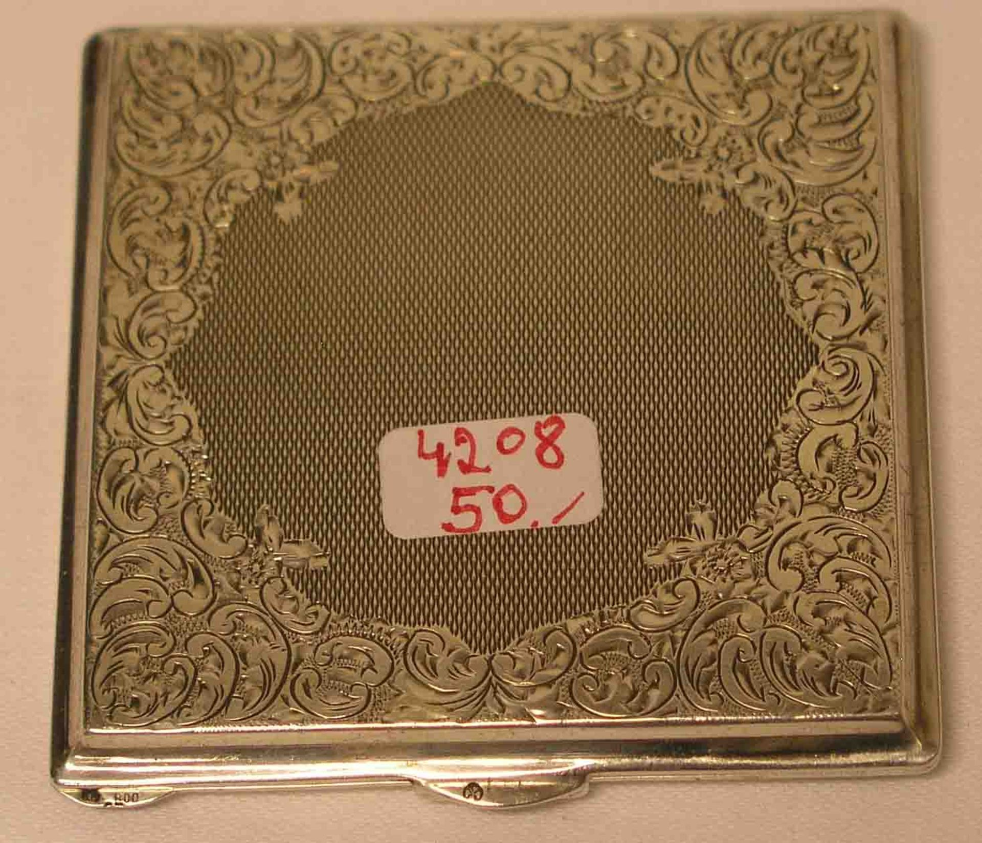 Schmink - Etui. 800er Silber, Deckel