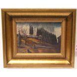 """Häuser am Waldrand"". Öl/Platte, 18 x"