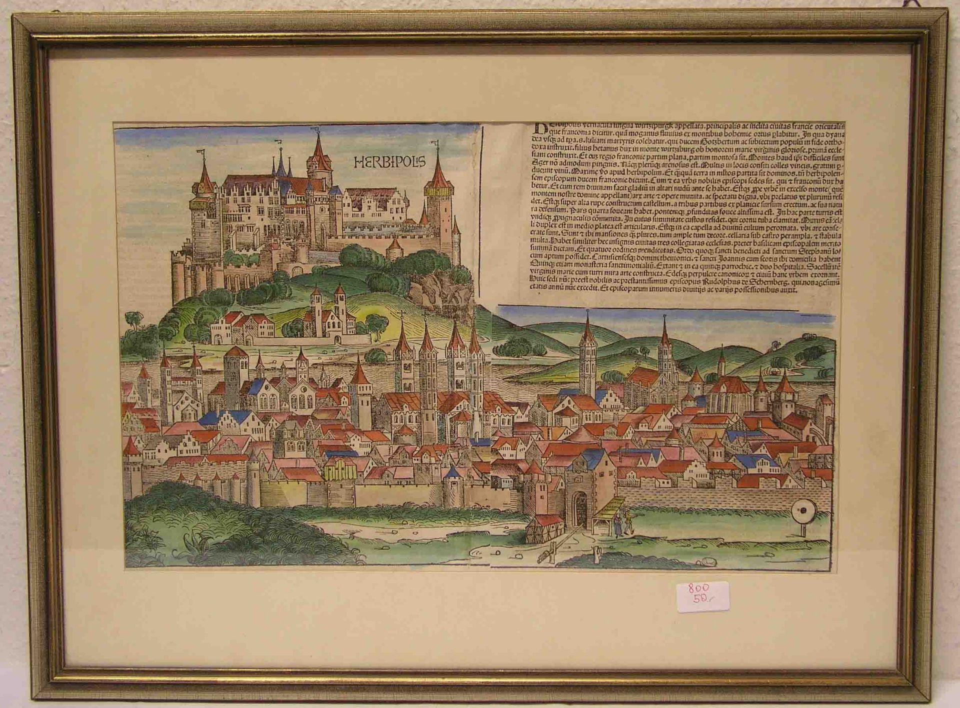 """""""Würzburg, Herbipolis"""". Altkolorierter"""
