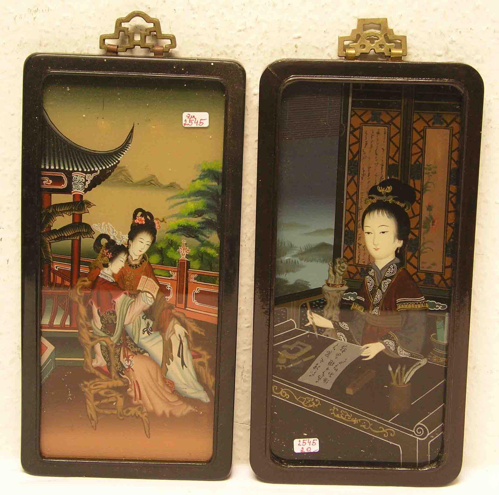 Zwei chinesische Hinterglasbilder: