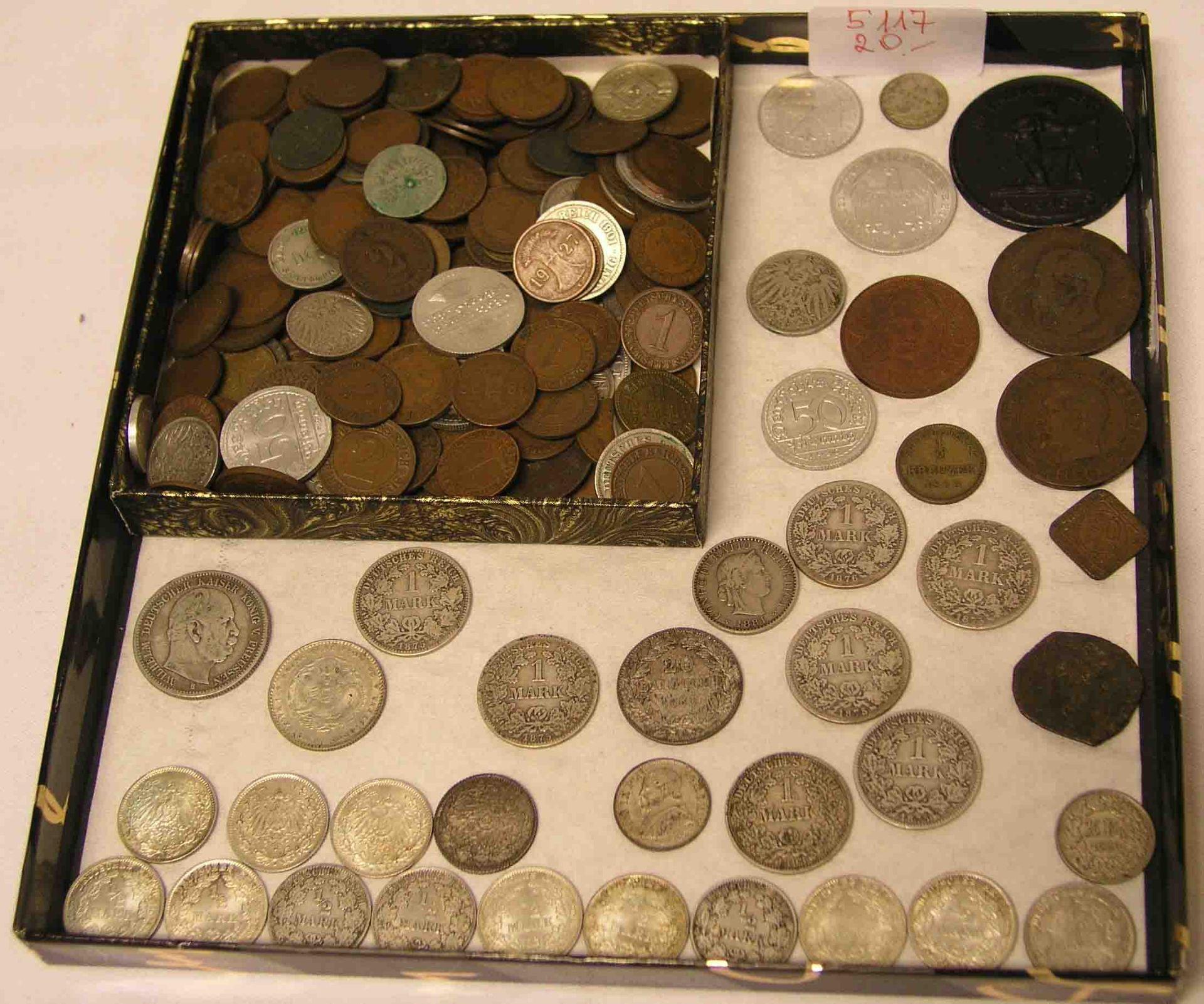 Posten  Münzen. Dabei: 1/2 Mark in