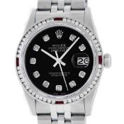 Rolex Mens SS Black Diamond & Ruby Channel Set Diamond Datejust Wristwatch 36MM