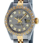 Rolex Ladies 2 Tone Slate Grey VS 26MM Diamond Datejust Oyster Perpetual Wristwa