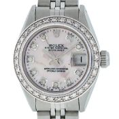 Rolex Ladies Stainless Steel Pink MOP Diamond 26MM Oyster Perpetaul Datejust