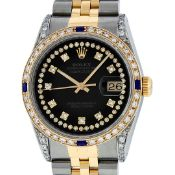 Rolex Mens 2 Tone Black Diamond String Lugs & Sapphire Datejust Wristwatch