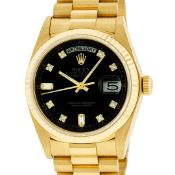 Rolex Mens 18K Yellow Gold Black Diamond Quickset President Wristwatch
