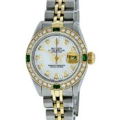 Rolex Ladies 2T White Diamond & Emerald Oyster Perpetual Datejust Wristwatch