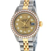 Rolex Ladies Quickset 2 Tone Champagne 1 ctw YG Diamond Oyster Perpetual Datejus