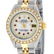 Rolex Ladies 2 Tone MOP Ruby String Diamond Datejust Wristwatch