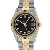 Rolex Mens 2 Tone Black String Diamond Lugs & Ruby Oyster Perpetual Datejust 36M