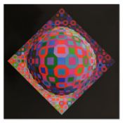 """Victor Vasarely (1908-1997), """"Planetary"""" Heliogravure Print, Titled Inverso."""