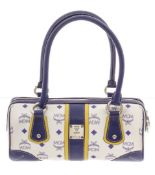 MCM Navy & White Visetos Coated Canvas and Leather Tote Bag