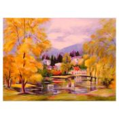 """Zina Roitman, """"Autumn"""" Hand Signed Limited Edition Serigraph with Letter of Auth"""