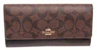 Coach Brown & Black Taylor Leather Slim Envelope Wallet