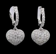 1.03 ctw Diamond Earrings - 14KT White Gold