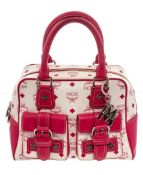 MCM Pink & White Visetos Coated Canvas & Leather Satchel Bag