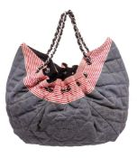 Chanel Blue Red Denim Quiled Stretch Spring Tote Bag