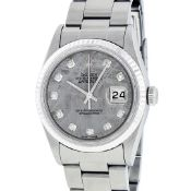 Rolex Mens Stainless Meteorite Diamond 36MM Oyster Perpetual Datejust Wristwatch