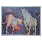 """Edwin Salomon, """"bull family"""" Hand Signed Limited Edition Serigraph with Letter o"""