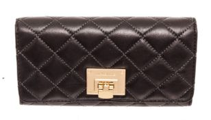 Michael Kors Black Astrid Leather Flap Lock Wallet
