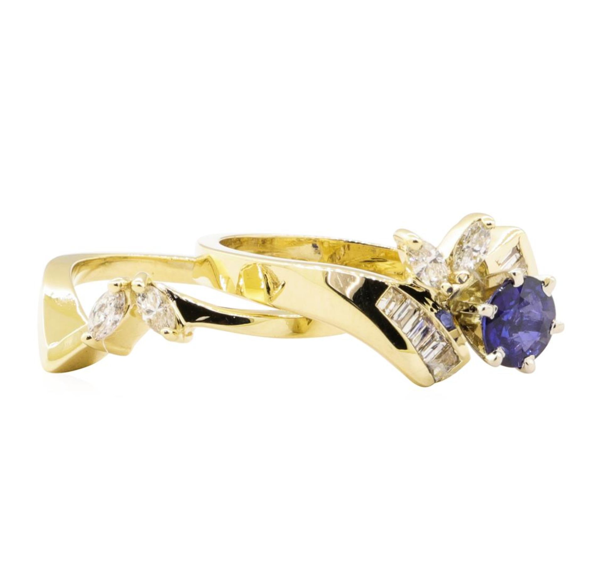 1.24 ctw Blue Sapphire And Diamond Ring And Band - 14KT Yellow Gold - Image 2 of 3