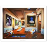 """Interior with Magritte"" Limited Edition Giclee on Canvas (40"" x 30"") by Ferjo,"