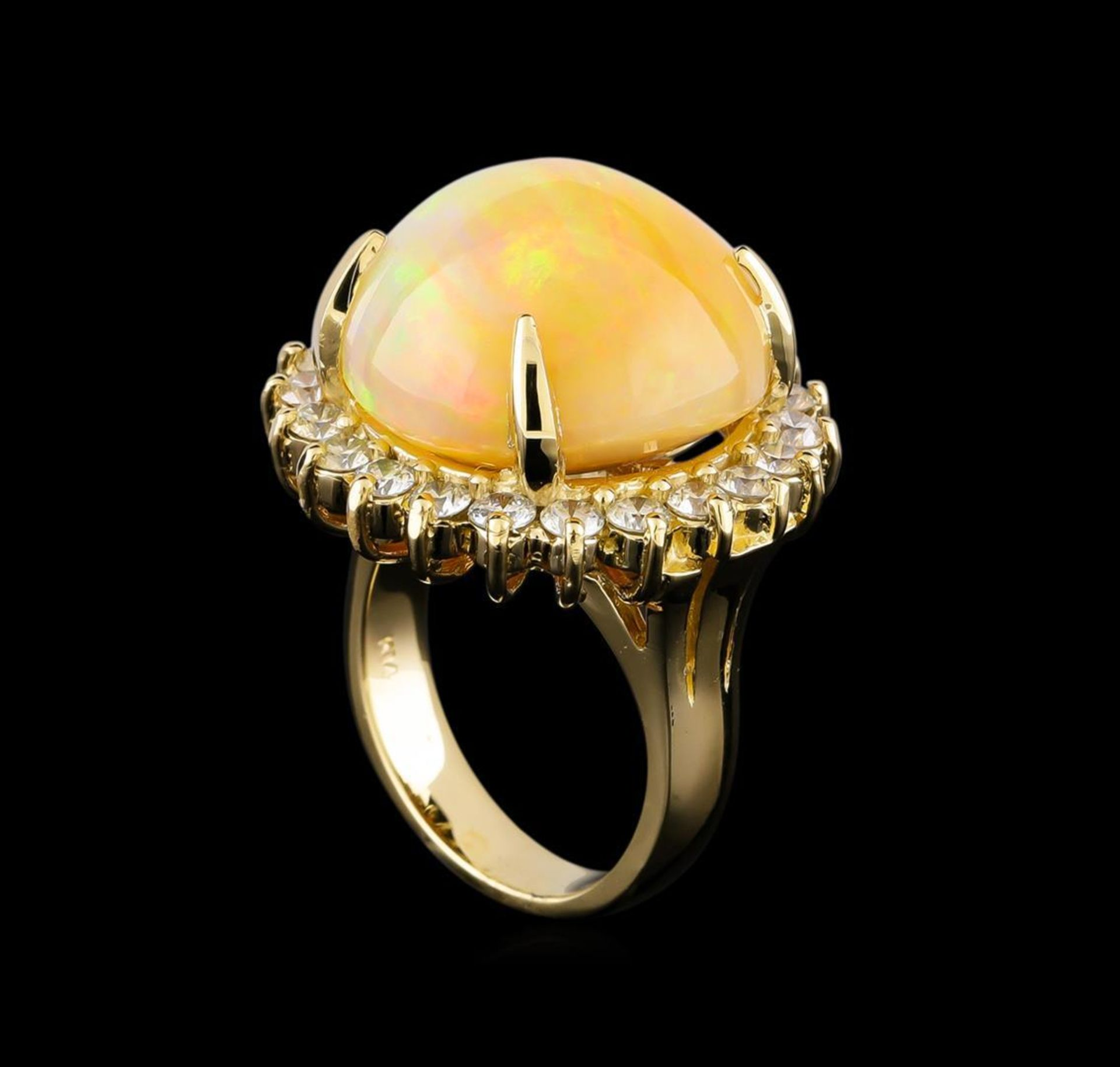 19.85 ctw Opal and Diamond Ring - 14KT Yellow Gold - Image 4 of 5