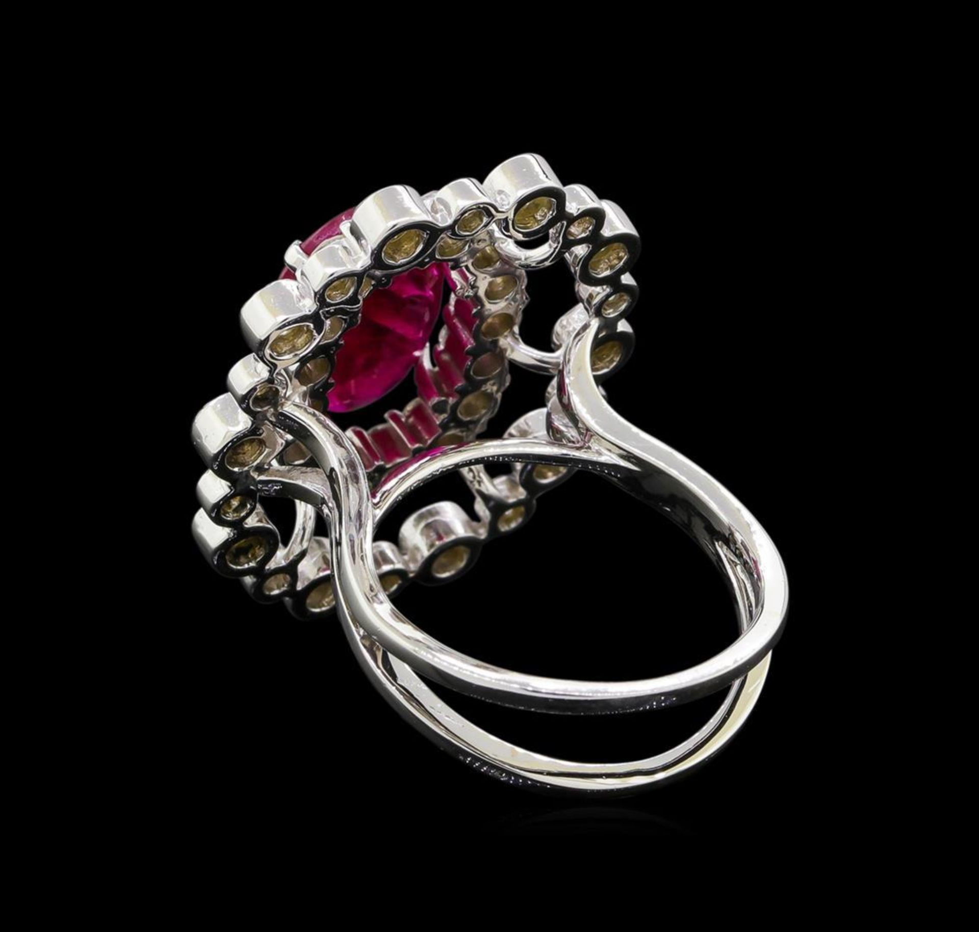 GIA Cert 4.22 ctw Ruby and Diamond Ring - 14KT White Gold - Image 3 of 6