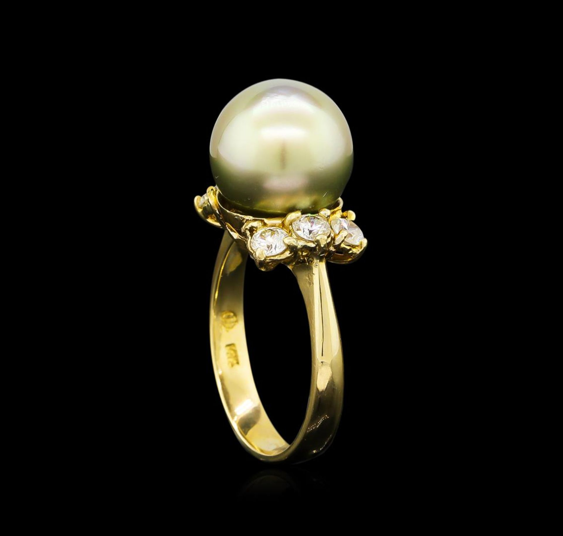0.66 ctw Pearl and Diamond Ring - 14KT Yellow Gold - Image 4 of 4