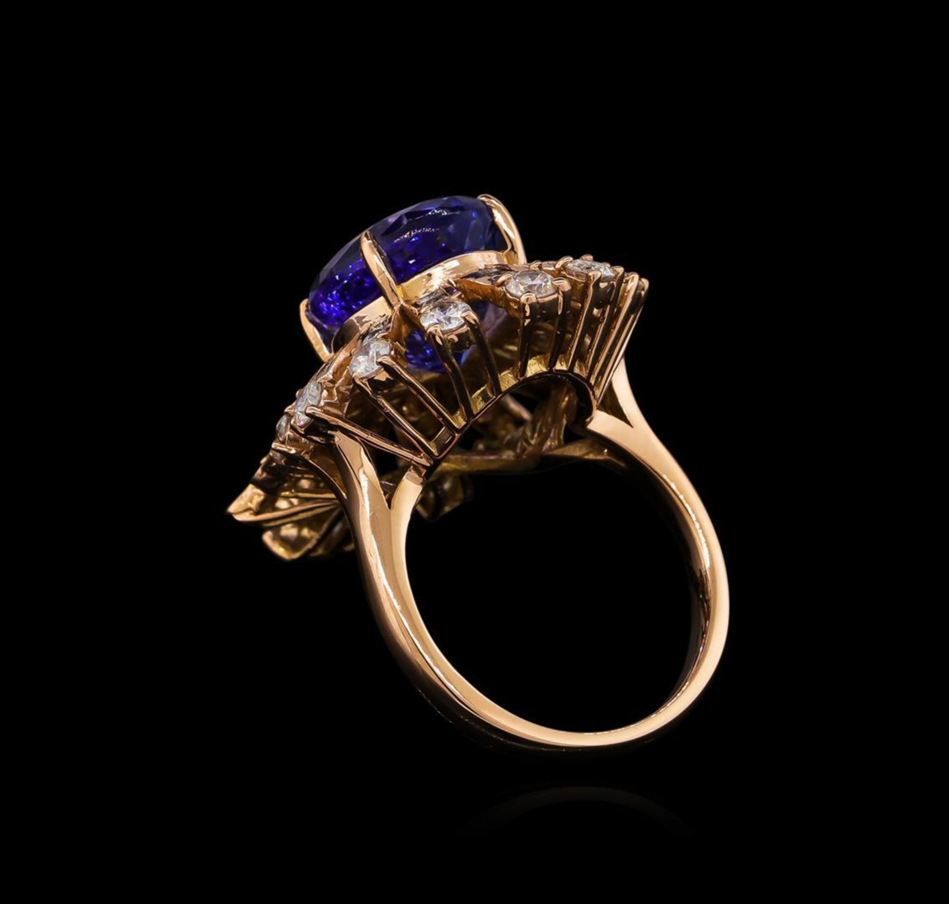 8.16 ctw Tanzanite and Diamond Ring - 14KT Rose Gold - Image 3 of 6