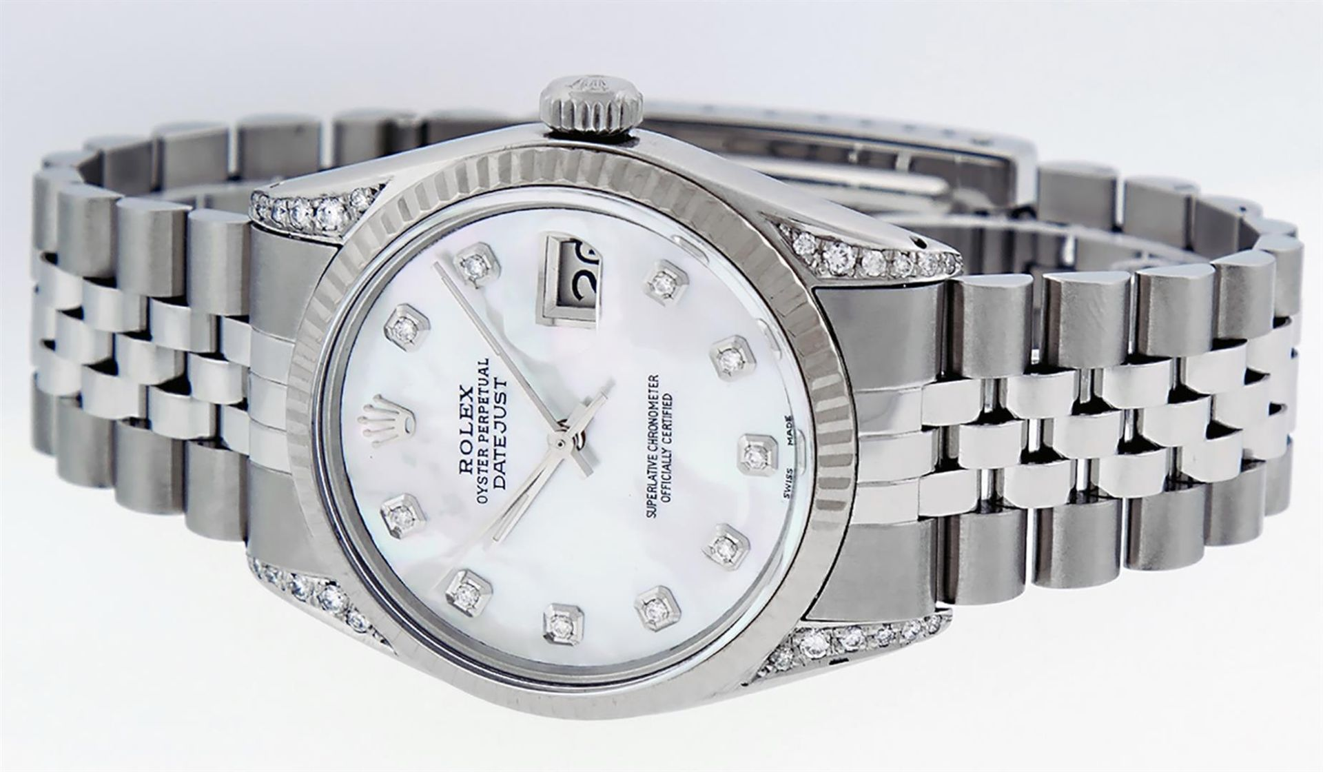 Rolex Mens Stainless Steel Mother Of Pearl Diamond Lugs 36MM Datejust Wristwatch - Image 6 of 8