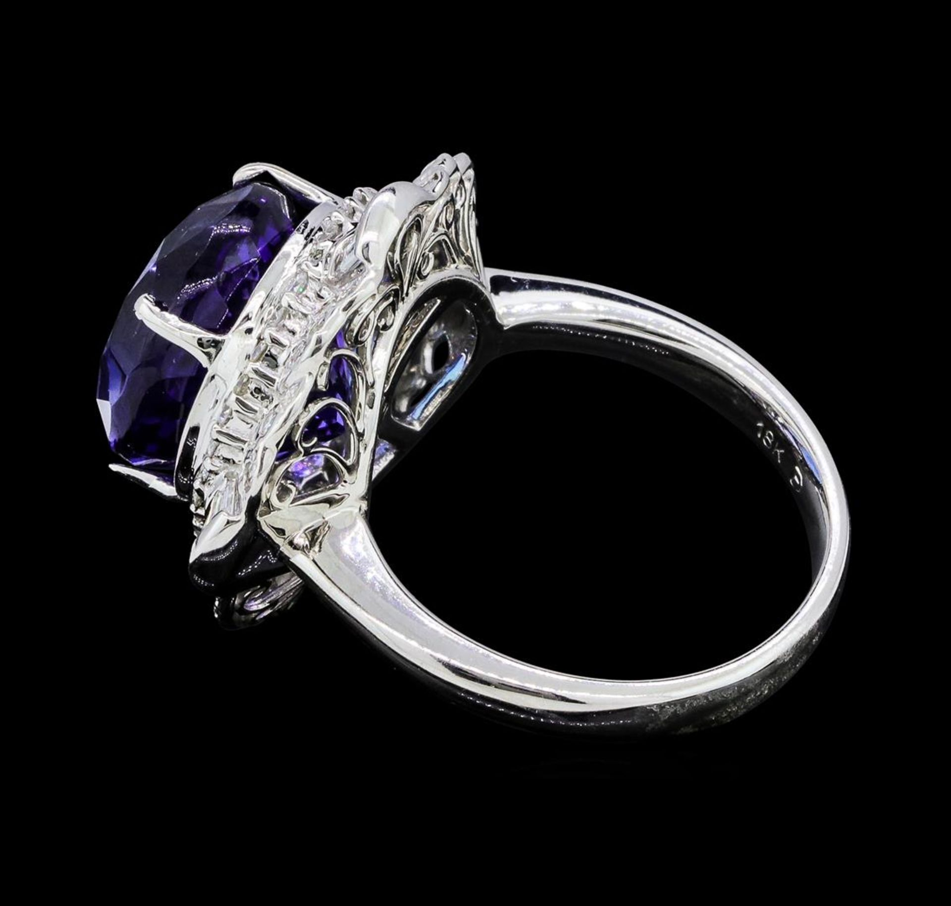 14.11 ctw Round Brilliant Tanzanite And Baguette Cut (Tapered) Diamond Ring - 18 - Image 3 of 5