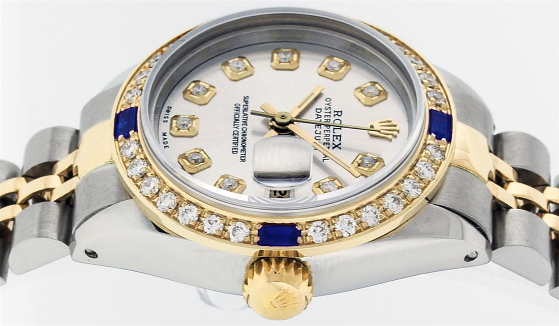 Rolex Ladies 2 Tone Silver Diamond & Sapphire Datejust Wristwatch - Image 5 of 9