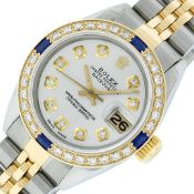 Rolex Ladies 2 Tone Silver Diamond & Sapphire Datejust Wristwatch