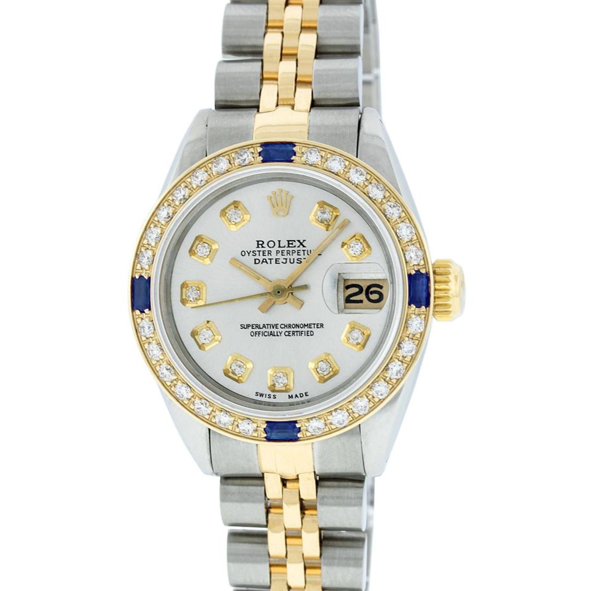 Rolex Ladies 2 Tone Silver Diamond & Sapphire Datejust Wristwatch - Image 3 of 9