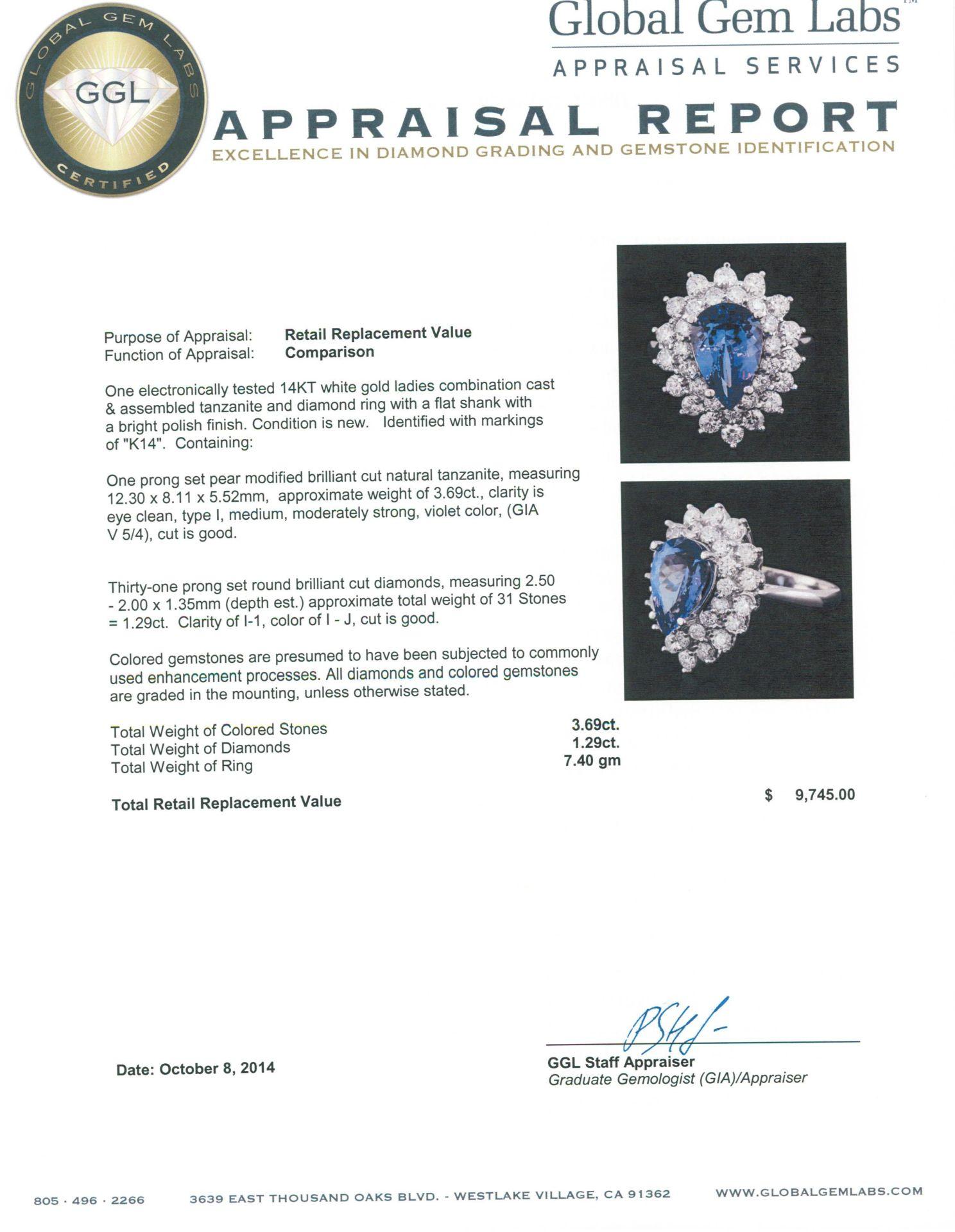 14KT White Gold 3.69 ctw Tanzanite and Diamond Ring - Image 3 of 3