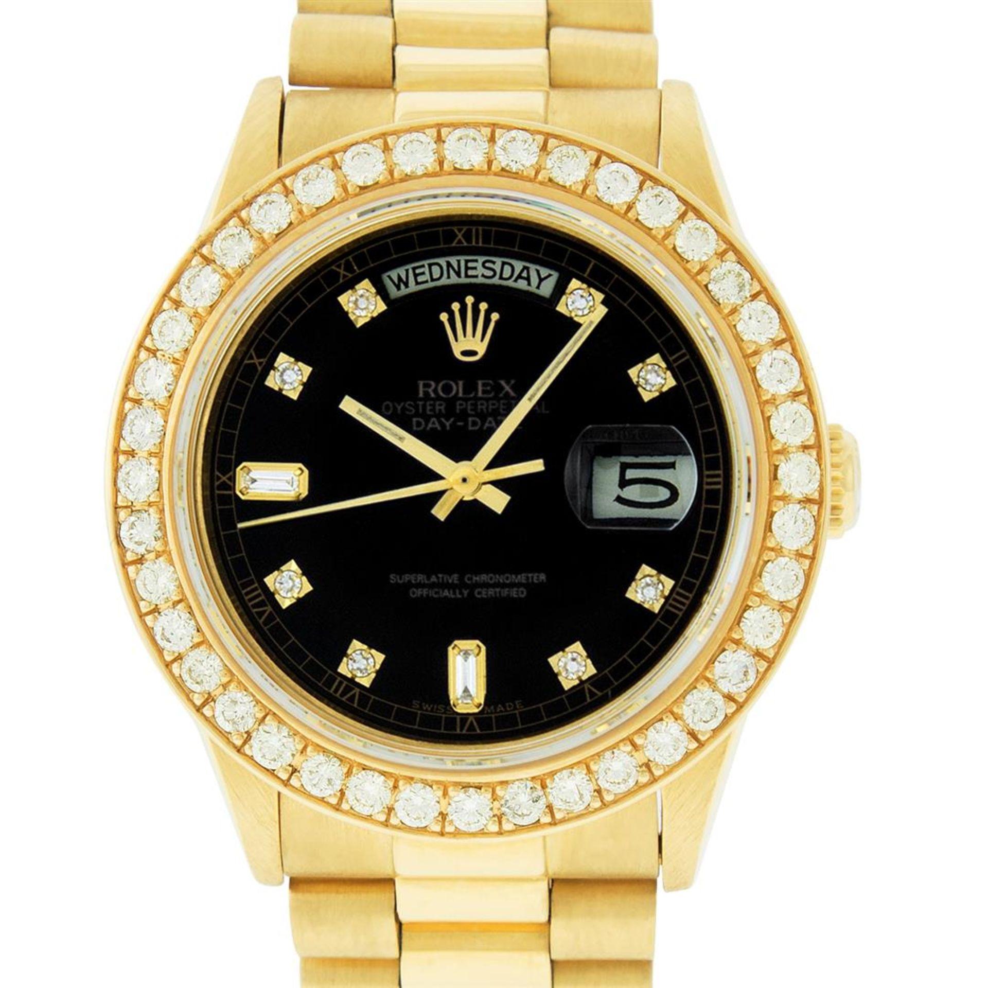 Rolex Mens 18K Yellow Gold Black Diamond 2.5 ctw Quickset President Wristwatch W