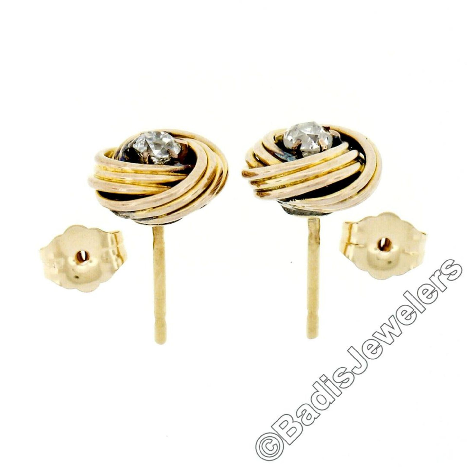 Victorian 14kt Yellow Gold 0.36 ctw Old Mine Cut Diamond Love Knot Stud Earrings - Image 4 of 5