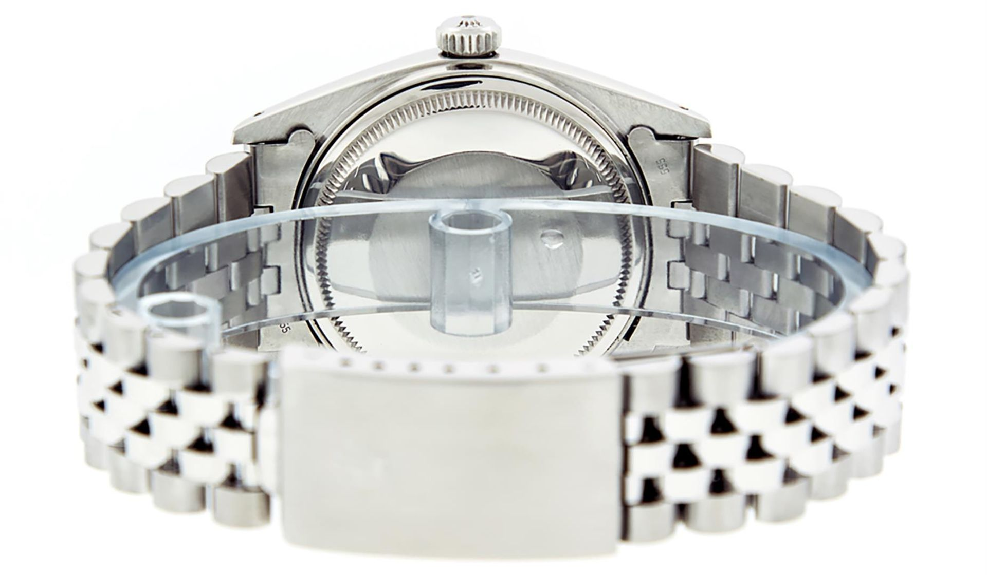 Rolex Mens Stainless Steel 36MM Blue Diamond Datejust Wristwatch - Image 7 of 9
