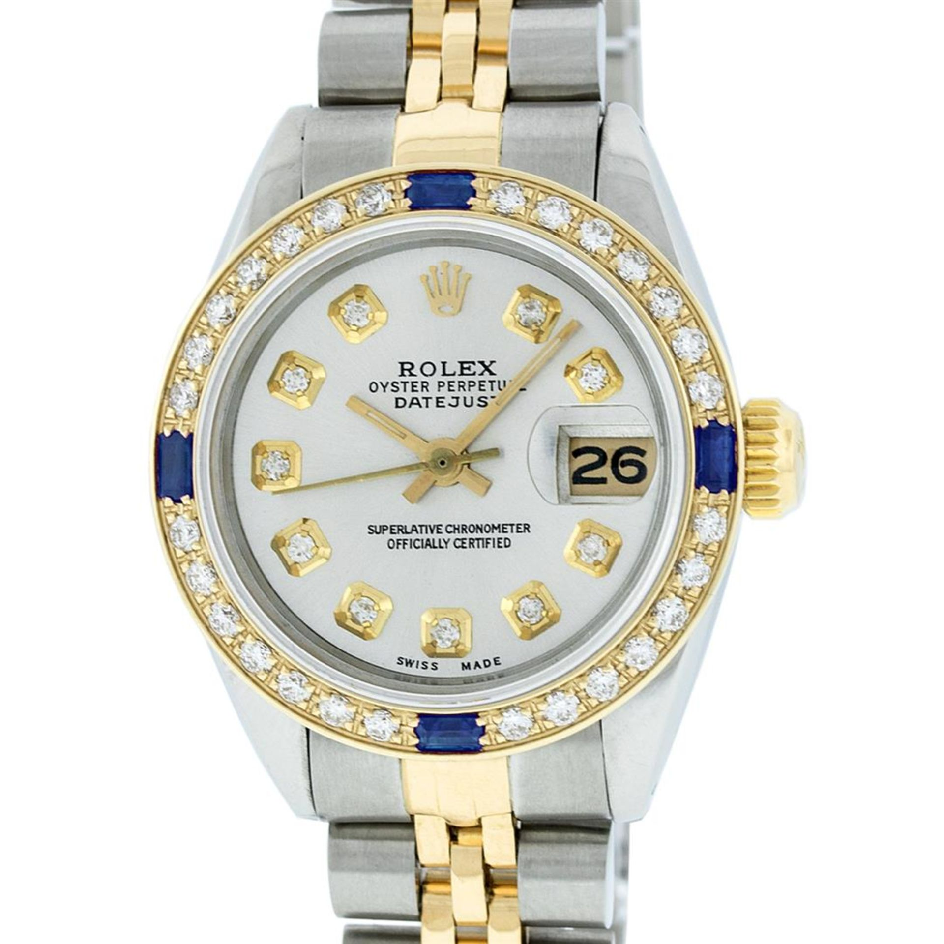Rolex Ladies 2 Tone Silver Diamond & Sapphire Datejust Wristwatch - Image 2 of 9