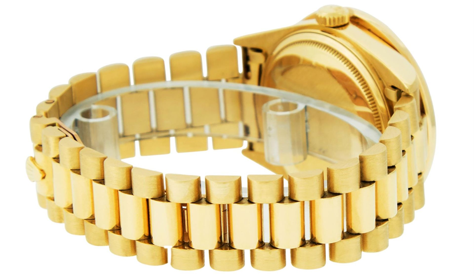 Rolex Mens 18K Yellow Gold Black Diamond 2.5 ctw Quickset President Wristwatch W - Image 3 of 6