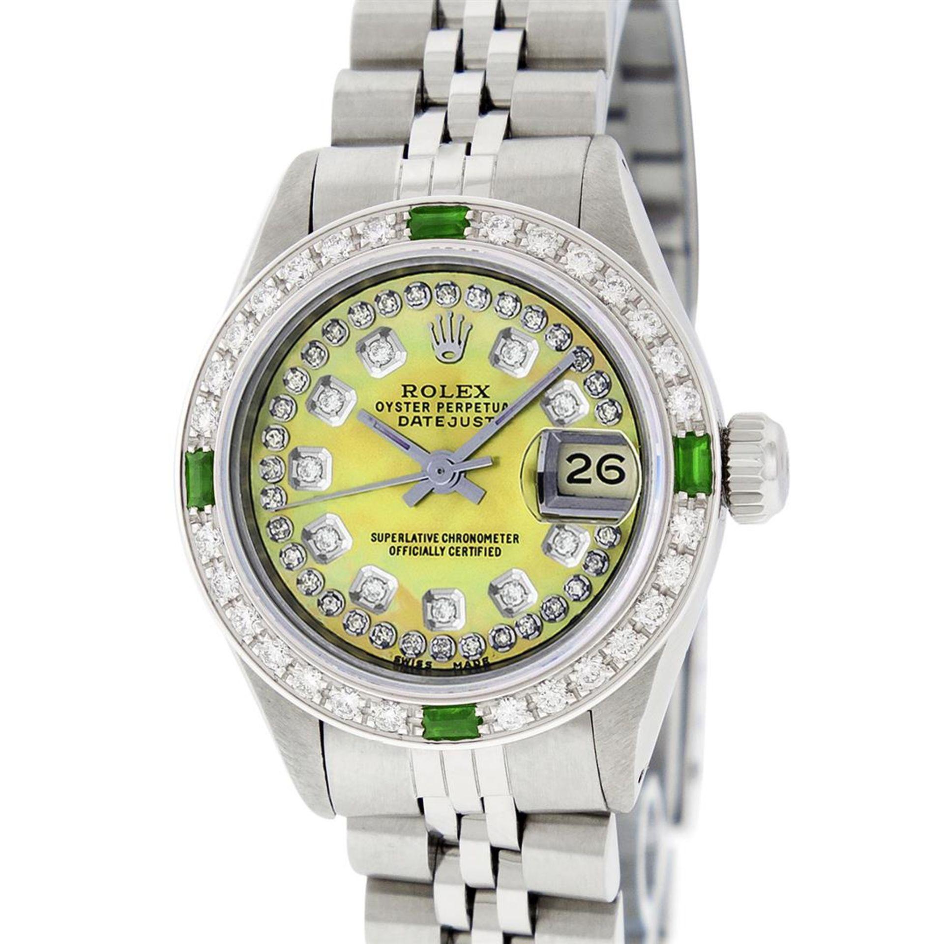 Rolex Ladies Stainless Steel Yellow MOP Emerald & Diamond Datejust Wristwatch - Image 2 of 7
