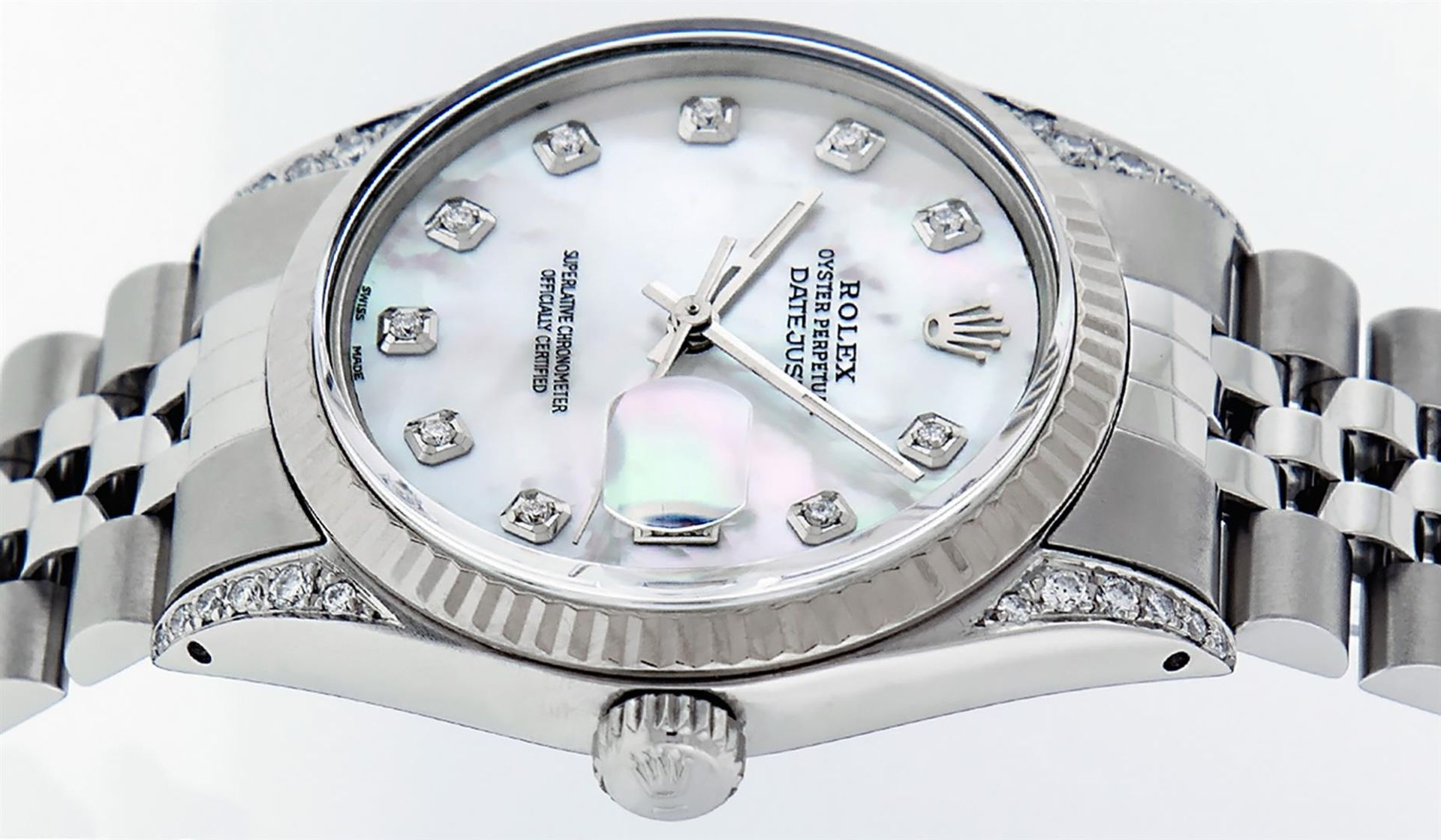 Rolex Mens Stainless Steel Mother Of Pearl Diamond Lugs 36MM Datejust Wristwatch - Image 7 of 8
